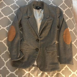Grey blazer with elbow patches